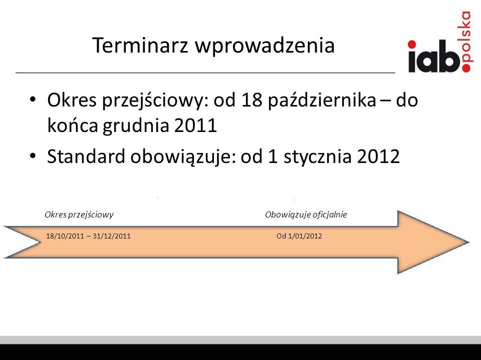 Terminarz wprowadzenia Okres przejściowy: od 18 października – do końca grudnia 2011 Standard obowiązuje: od 1 stycznia 2012 18/10/2011 – 31/12/2011Od 1/01/2012 Okres przejściowyObowiązuje oficjalnie