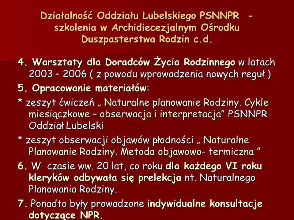 Działalność Oddziału Lubelskiego PSNNPR - szkolenia w Archidiecezjalnym Ośrodku Duszpasterstwa Rodzin c.d.