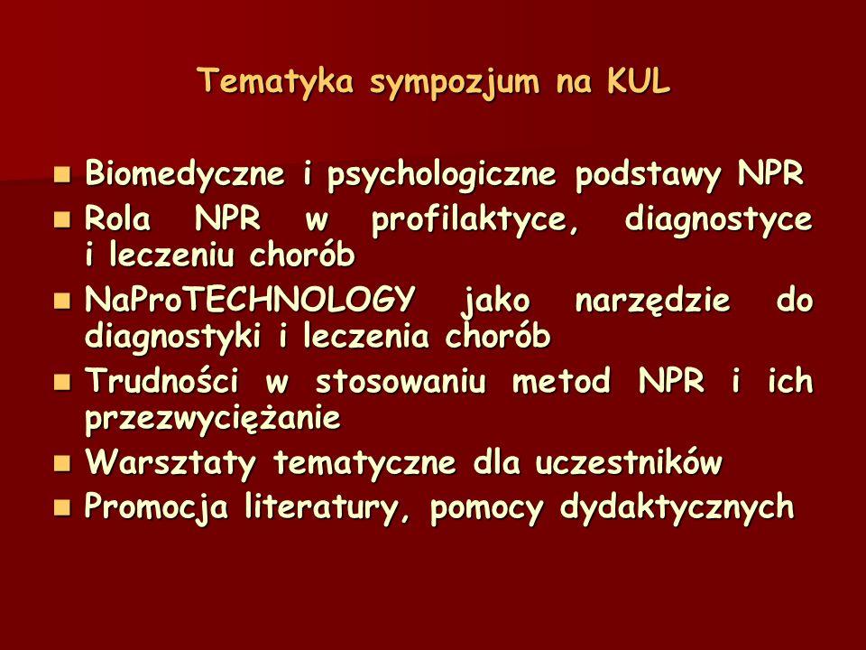 Tematyka sympozjum na KUL Biomedyczne i psychologiczne podstawy NPR Biomedyczne i psychologiczne podstawy NPR Rola NPR w profilaktyce, diagnostyce i leczeniu chorób Rola NPR w profilaktyce, diagnostyce i leczeniu chorób NaProTECHNOLOGY jako narzędzie do diagnostyki i leczenia chorób NaProTECHNOLOGY jako narzędzie do diagnostyki i leczenia chorób Trudności w stosowaniu metod NPR i ich przezwyciężanie Trudności w stosowaniu metod NPR i ich przezwyciężanie Warsztaty tematyczne dla uczestników Warsztaty tematyczne dla uczestników Promocja literatury, pomocy dydaktycznych Promocja literatury, pomocy dydaktycznych