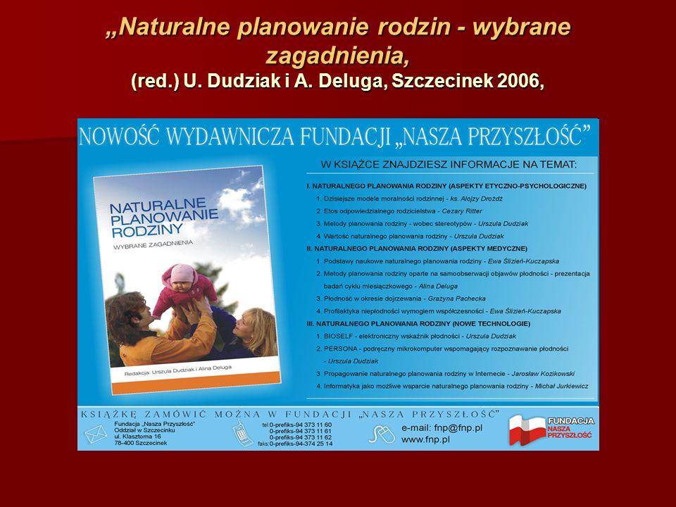 Naturalne planowanie rodzin - wybrane zagadnienia, (red.) U. Dudziak i A. Deluga, Szczecinek 2006,