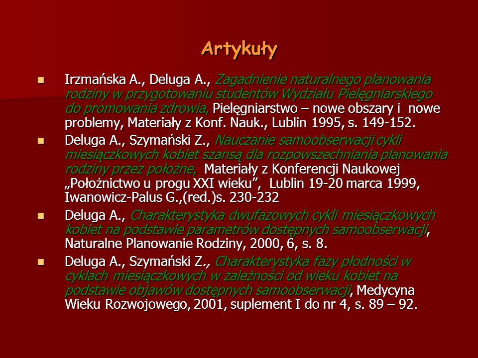 Artykuły Irzmańska A., Deluga A., Zagadnienie naturalnego planowania rodziny w przygotowaniu studentów Wydziału Pielęgniarskiego do promowania zdrowia, Pielęgniarstwo – nowe obszary i nowe problemy, Materiały z Konf.