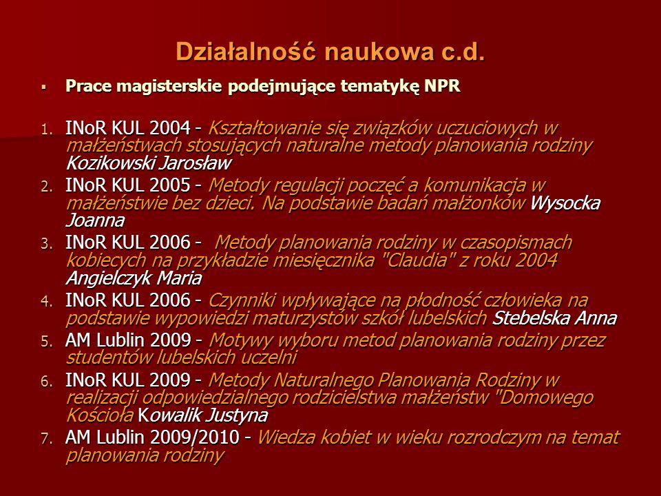 Artykuły c.d.Kanadys K., Pilewska-Kozak A.B., Bałanda A.: Naturalne planowanie rodziny.