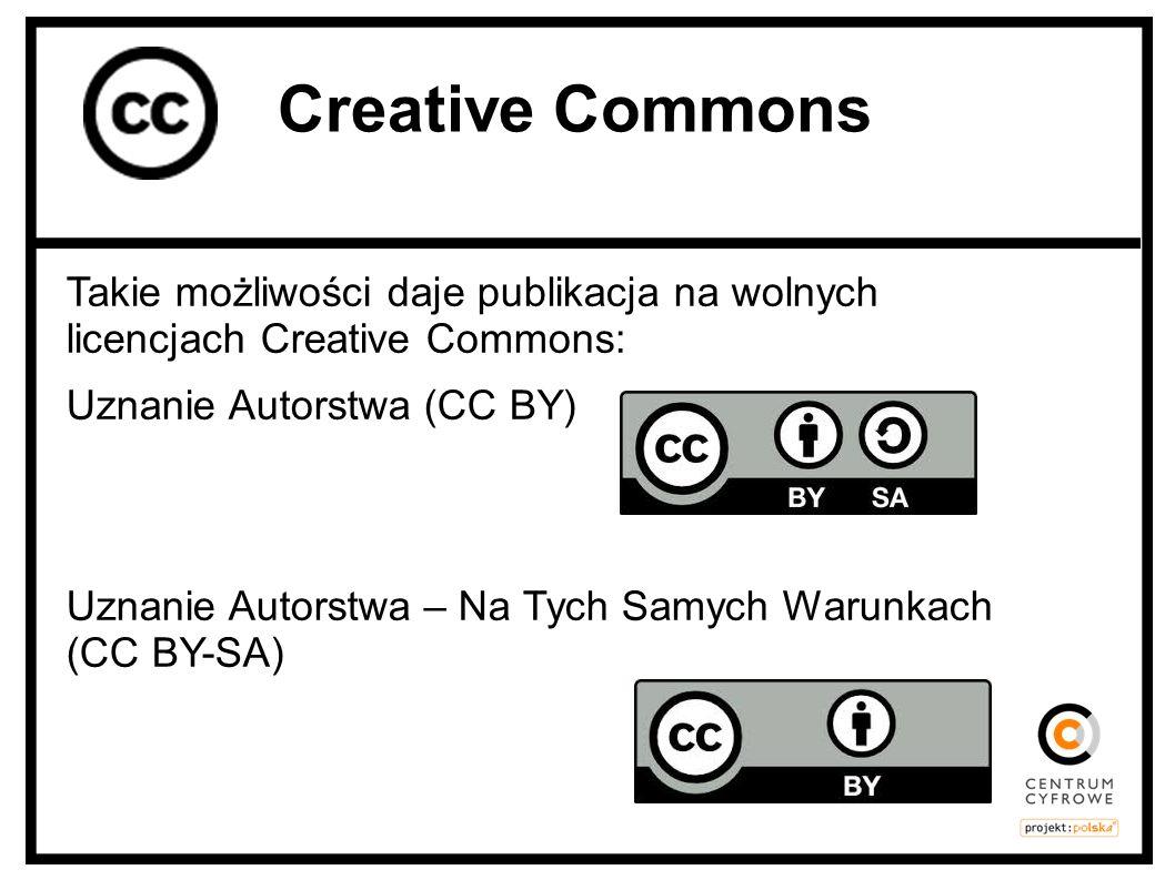 Takie możliwości daje publikacja na wolnych licencjach Creative Commons: Uznanie Autorstwa (CC BY) Uznanie Autorstwa – Na Tych Samych Warunkach (CC BY
