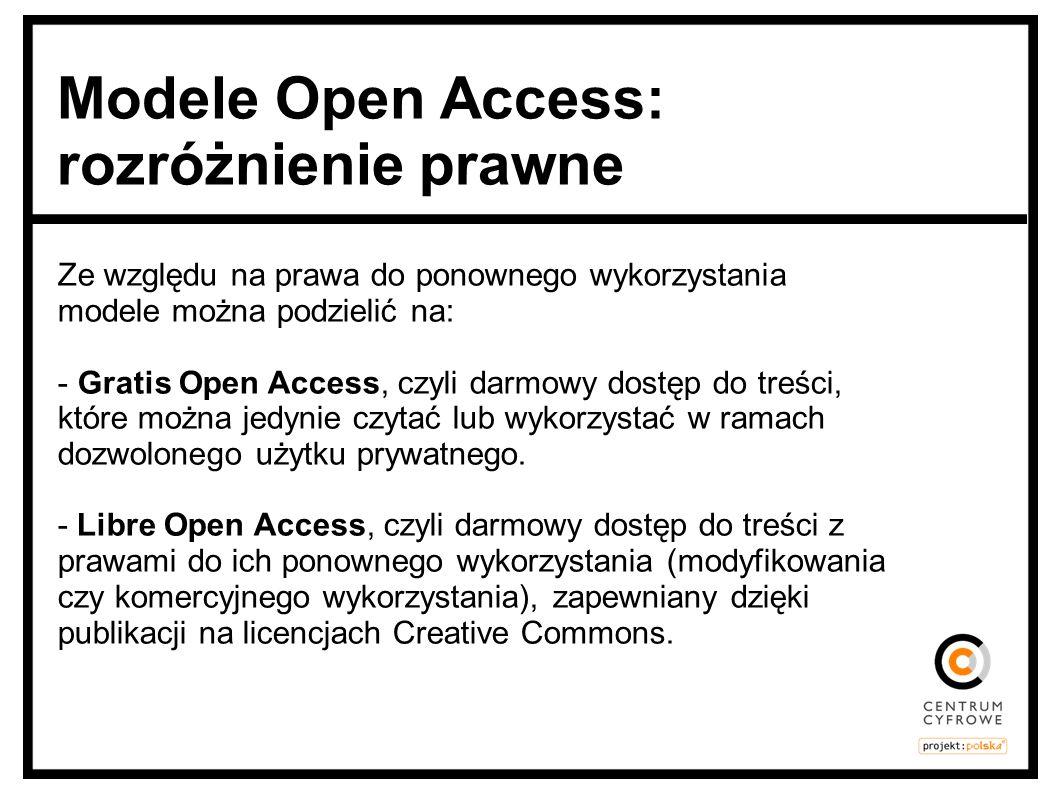 Ze względu na prawa do ponownego wykorzystania modele można podzielić na: - Gratis Open Access, czyli darmowy dostęp do treści, które można jedynie cz