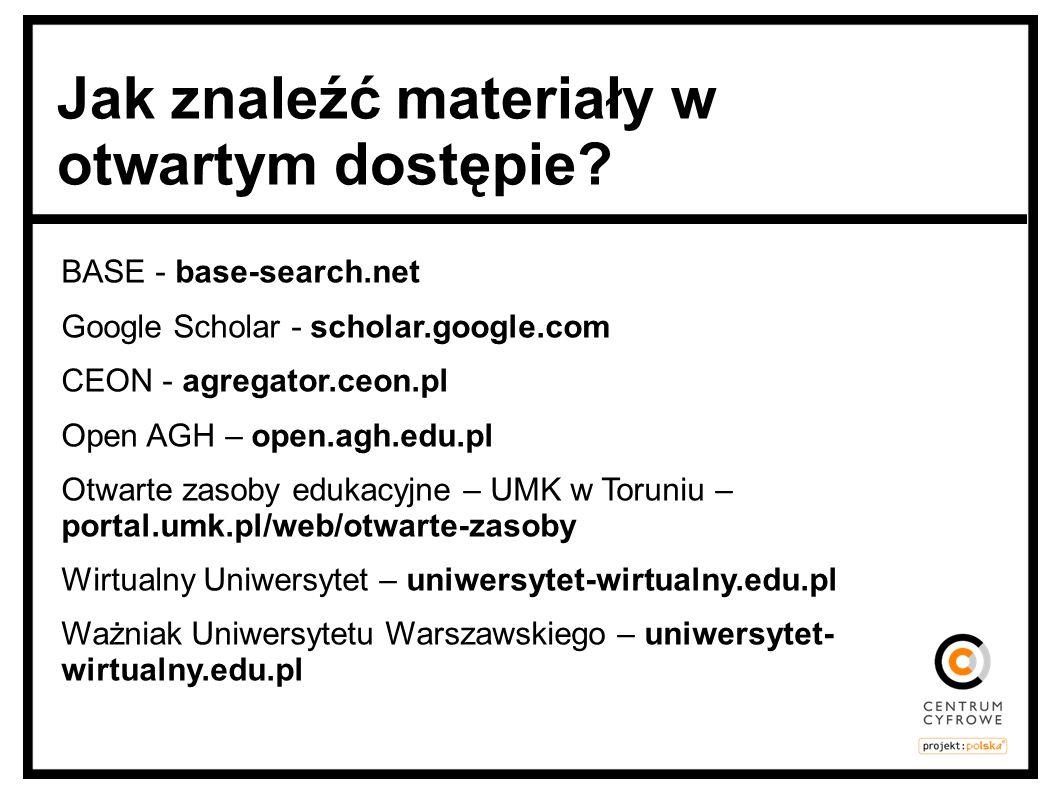 BASE - base-search.net Google Scholar - scholar.google.com CEON - agregator.ceon.pl Open AGH – open.agh.edu.pl Otwarte zasoby edukacyjne – UMK w Torun