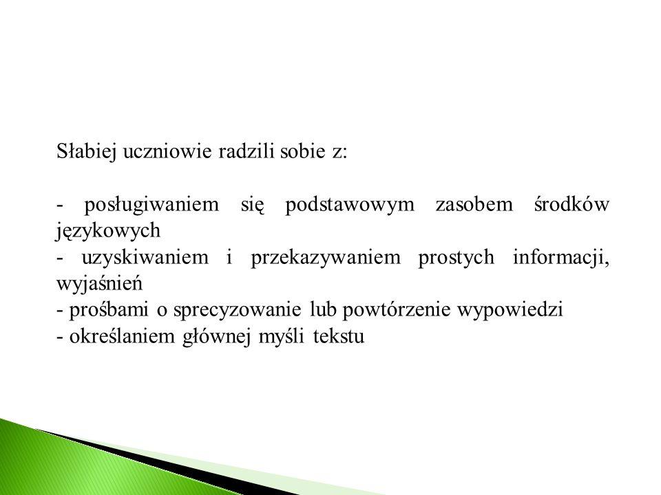 Słabiej uczniowie radzili sobie z: - posługiwaniem się podstawowym zasobem środków językowych - uzyskiwaniem i przekazywaniem prostych informacji, wyj
