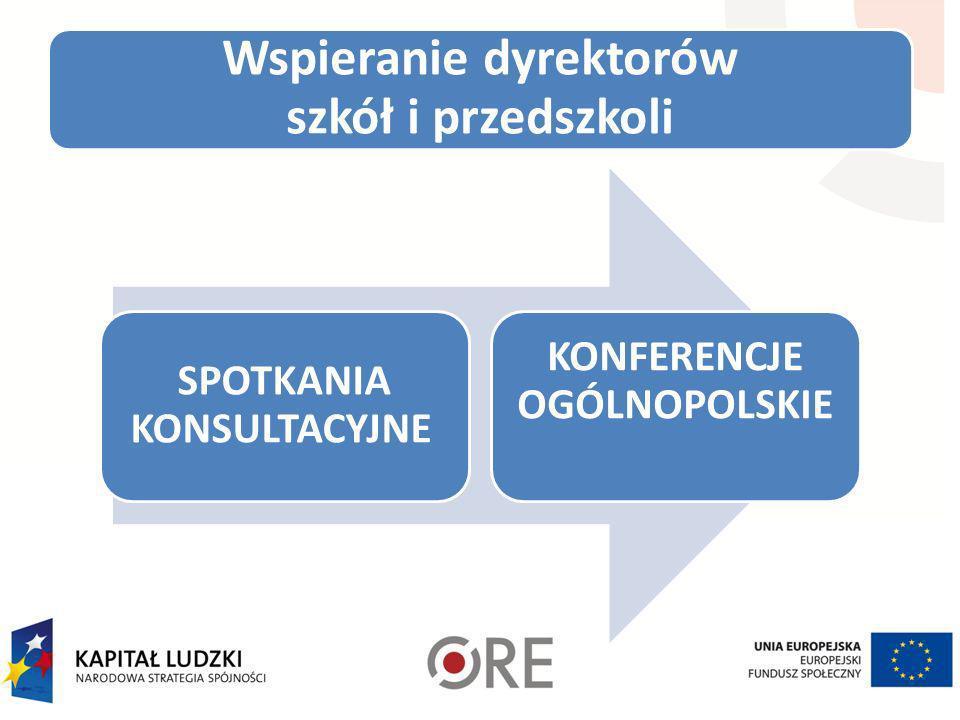 Wspieranie dyrektorów szkół i przedszkoli SPOTKANIA KONSULTACYJNE KONFERENCJE OGÓLNOPOLSKIE