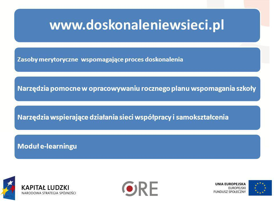 www.doskonaleniewsieci.pl Zasoby merytoryczne wspomagające proces doskonalenia Narzędzia pomocne w opracowywaniu rocznego planu wspomagania szkołyNarz