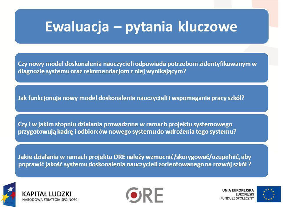 Ewaluacja – pytania kluczowe Czy nowy model doskonalenia nauczycieli odpowiada potrzebom zidentyfikowanym w diagnozie systemu oraz rekomendacjom z nie