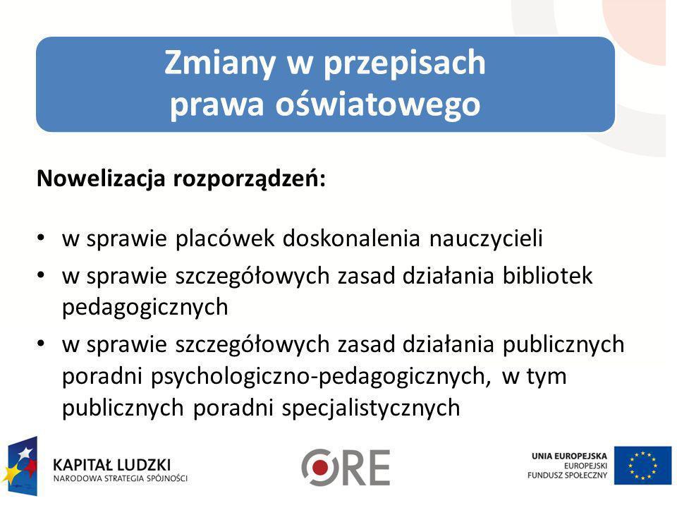 Zmiany w przepisach prawa oświatowego Nowelizacja rozporządzeń: w sprawie placówek doskonalenia nauczycieli w sprawie szczegółowych zasad działania bi