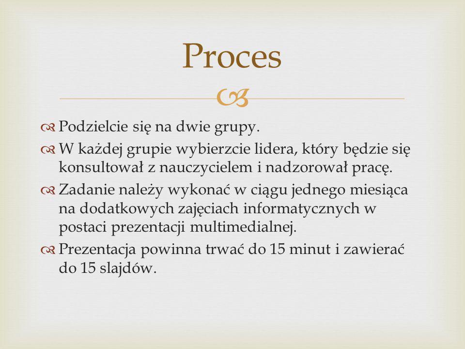 Grupa I – Historycy Zbierzcie jak najwięcej informacji o ruinach zamku na Górze Sobień.