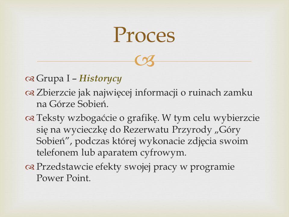 Grupa I – Historycy Zbierzcie jak najwięcej informacji o ruinach zamku na Górze Sobień. Teksty wzbogaćcie o grafikę. W tym celu wybierzcie się na wyci