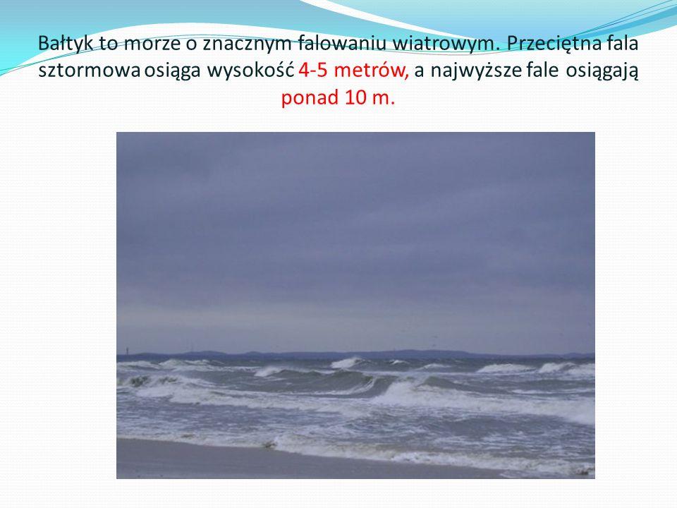 Bałtyk to morze o znacznym falowaniu wiatrowym. Przeciętna fala sztormowa osiąga wysokość 4-5 metrów, a najwyższe fale osiągają ponad 10 m.