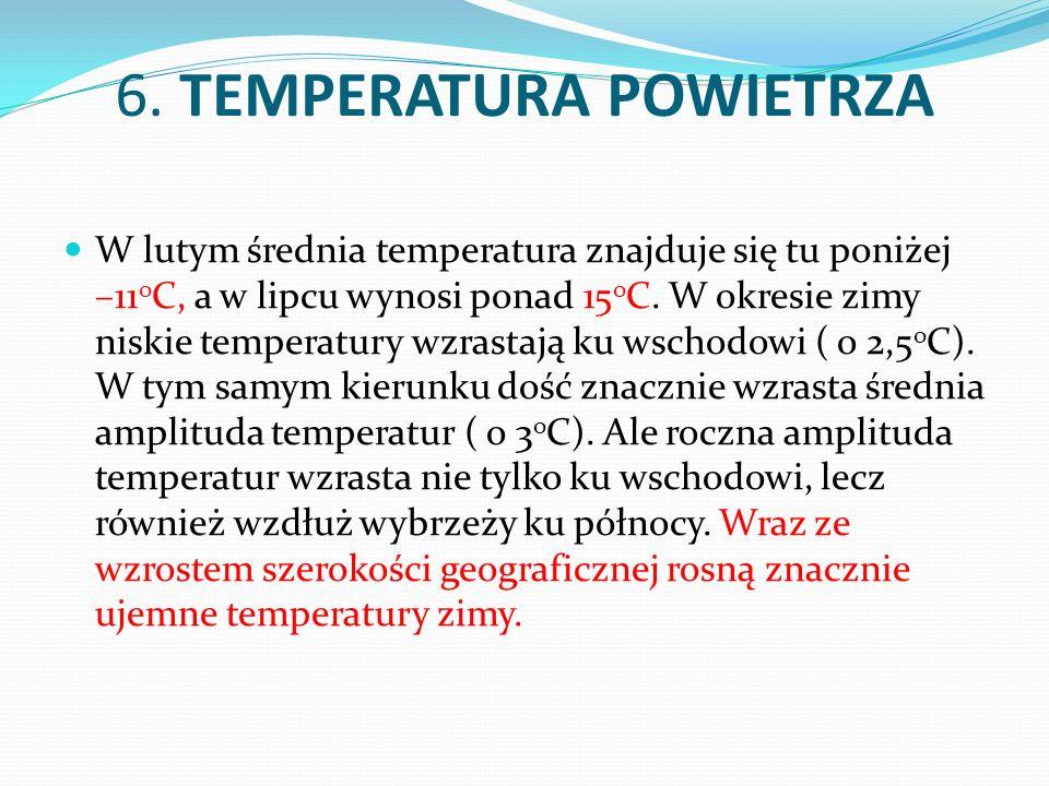 6. TEMPERATURA POWIETRZA W lutym średnia temperatura znajduje się tu poniżej –11 o C, a w lipcu wynosi ponad 15 o C. W okresie zimy niskie temperatury
