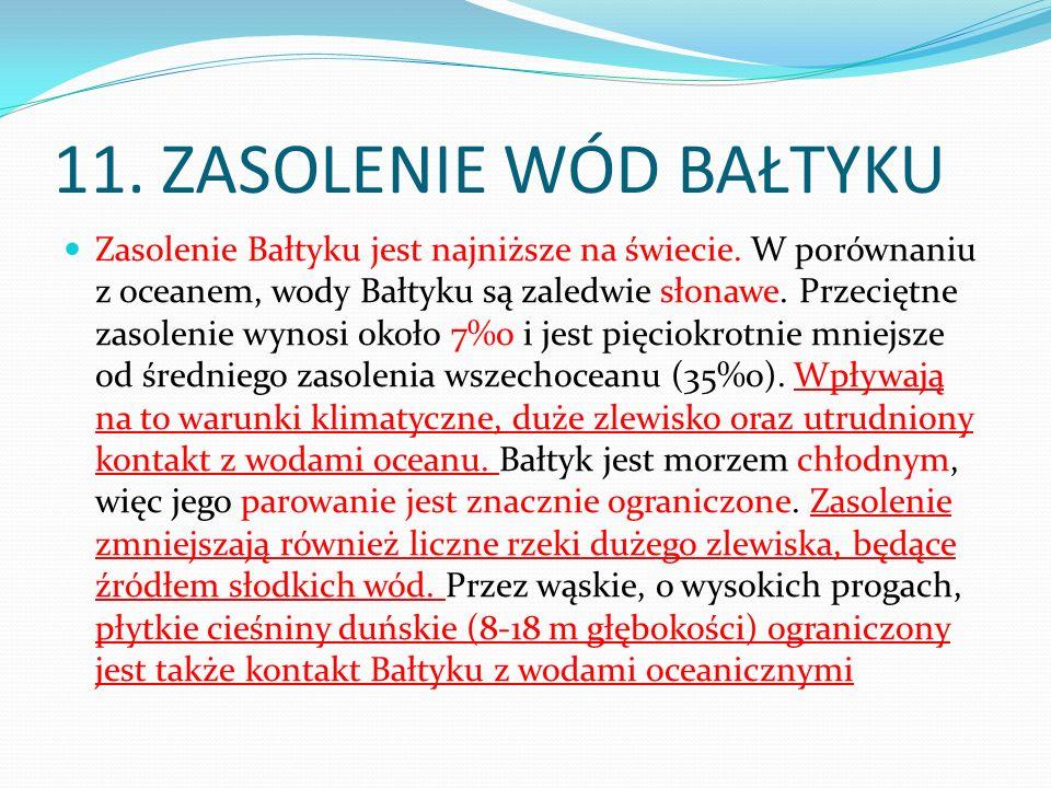 11. ZASOLENIE WÓD BAŁTYKU Zasolenie Bałtyku jest najniższe na świecie. W porównaniu z oceanem, wody Bałtyku są zaledwie słonawe. Przeciętne zasolenie