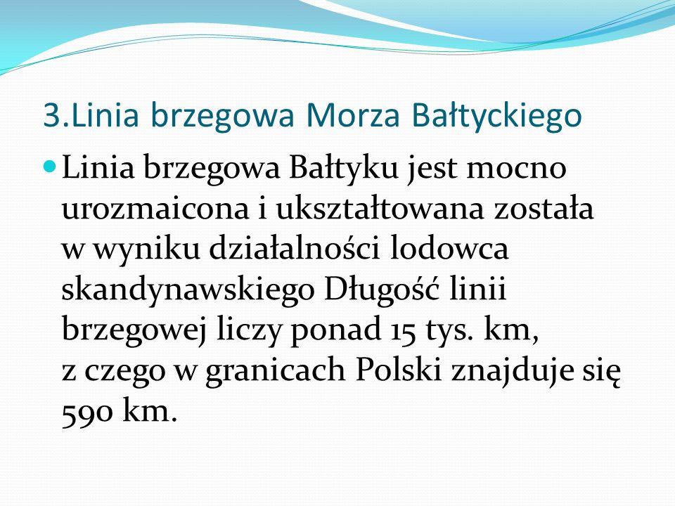 3.Linia brzegowa Morza Bałtyckiego Linia brzegowa Bałtyku jest mocno urozmaicona i ukształtowana została w wyniku działalności lodowca skandynawskiego