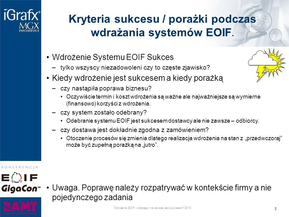 Kryteria sukcesu / porażki podczas wdrażania systemów EOIF. Wdrożenie Systemu EOIF Sukces –tylko wszyscy niezadowoleni czy to częste zjawisko? Kiedy w
