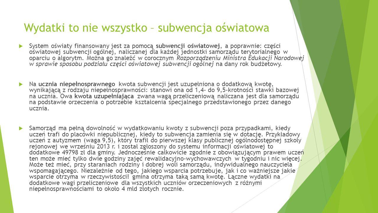 Wydatki to nie wszystko – subwencja oświatowa System oświaty finansowany jest za pomocą subwencji oświatowej, a poprawnie: części oświatowej subwencji ogólnej, naliczanej dla każdej jednostki samorządu terytorialnego w oparciu o algorytm.