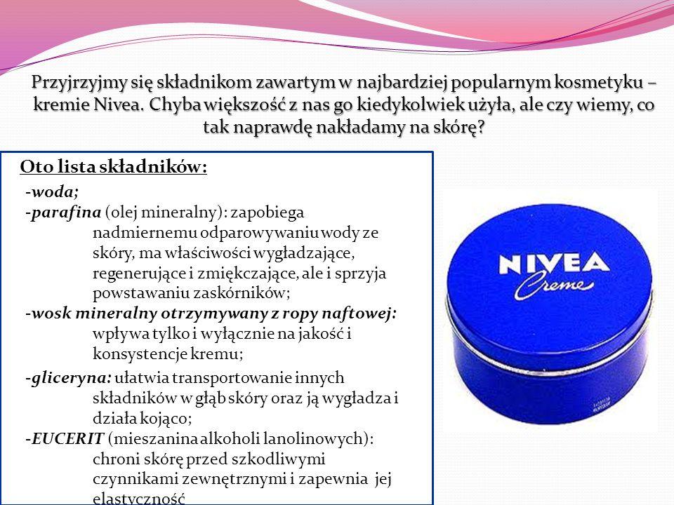 Przyjrzyjmy się składnikom zawartym w najbardziej popularnym kosmetyku – kremie Nivea. Chyba większość z nas go kiedykolwiek użyła, ale czy wiemy, co