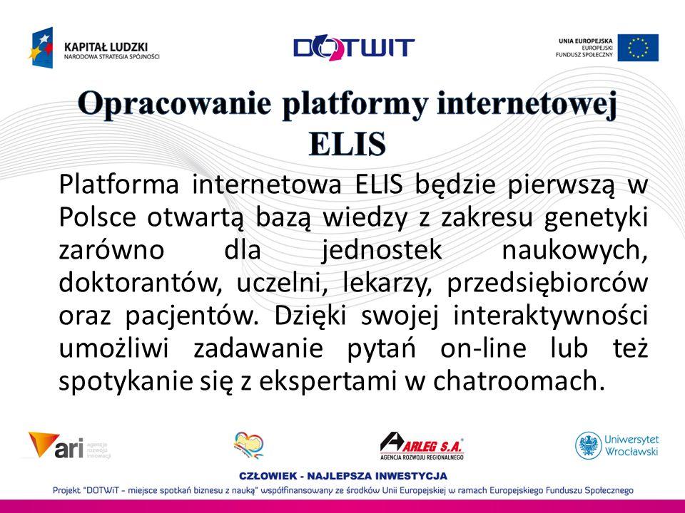 Platforma internetowa ELIS będzie pierwszą w Polsce otwartą bazą wiedzy z zakresu genetyki zarówno dla jednostek naukowych, doktorantów, uczelni, leka