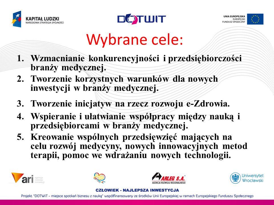 Wybrane cele: 1.Wzmacnianie konkurencyjności i przedsiębiorczości branży medycznej. 2.Tworzenie korzystnych warunków dla nowych inwestycji w branży me