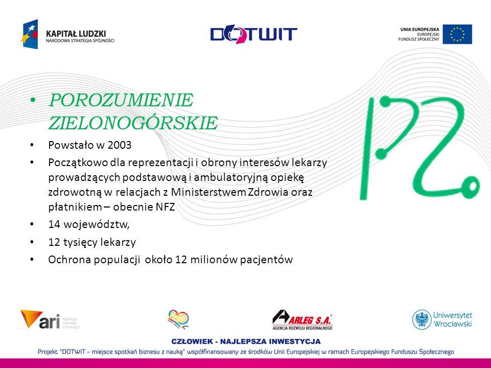 Obszar działania – głównie województwo Dolnośląskie Powstał w 2004 roku 2005 przystąpienie do PZ 2012 przystąpienie do Konfederacji Pracodawców Polskich Lewiatan 76 członków – podmiotów medycznych z sektora MŚP Ponad 500 tys.