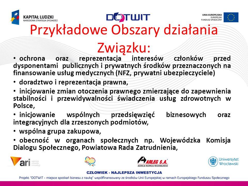 Przykładowe Obszary działania Związku: ochrona oraz reprezentacja interesów członków przed dysponentami publicznych i prywatnych środków przeznaczonyc