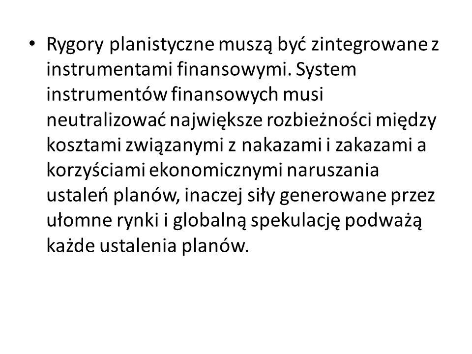 Rygory planistyczne muszą być zintegrowane z instrumentami finansowymi. System instrumentów finansowych musi neutralizować największe rozbieżności mię