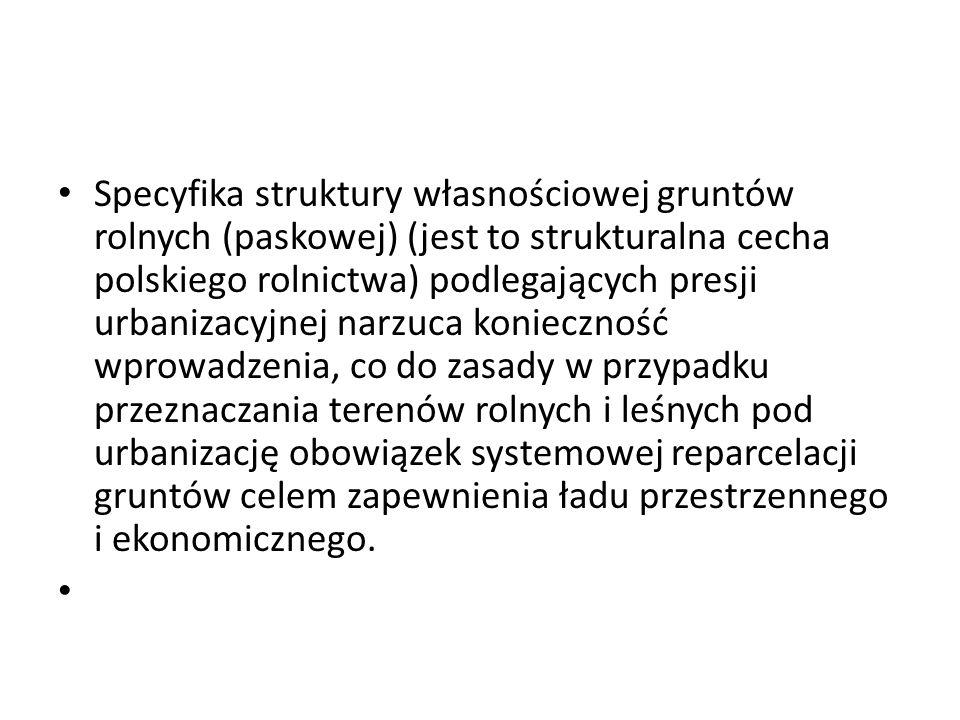Specyfika struktury własnościowej gruntów rolnych (paskowej) (jest to strukturalna cecha polskiego rolnictwa) podlegających presji urbanizacyjnej narz