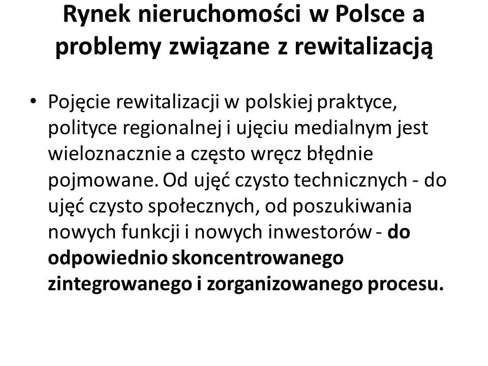 Rynek nieruchomości w Polsce a problemy związane z rewitalizacją Pojęcie rewitalizacji w polskiej praktyce, polityce regionalnej i ujęciu medialnym je