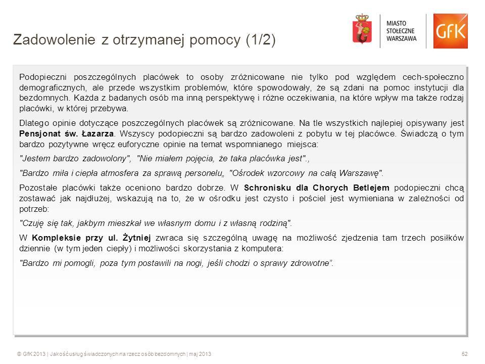 © GfK 2013 | Jakość usług świadczonych na rzecz osób bezdomnych | maj 201352 Podopieczni poszczególnych placówek to osoby zróżnicowane nie tylko pod w