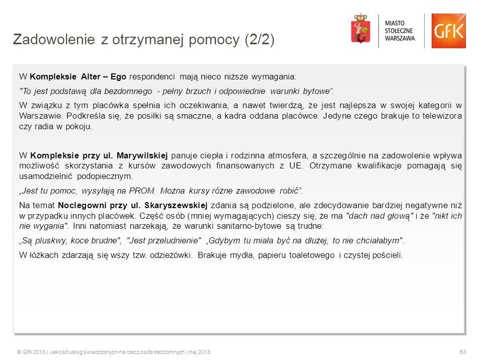 © GfK 2013 | Jakość usług świadczonych na rzecz osób bezdomnych | maj 201353 W Kompleksie Alter – Ego respondenci mają nieco niższe wymagania: