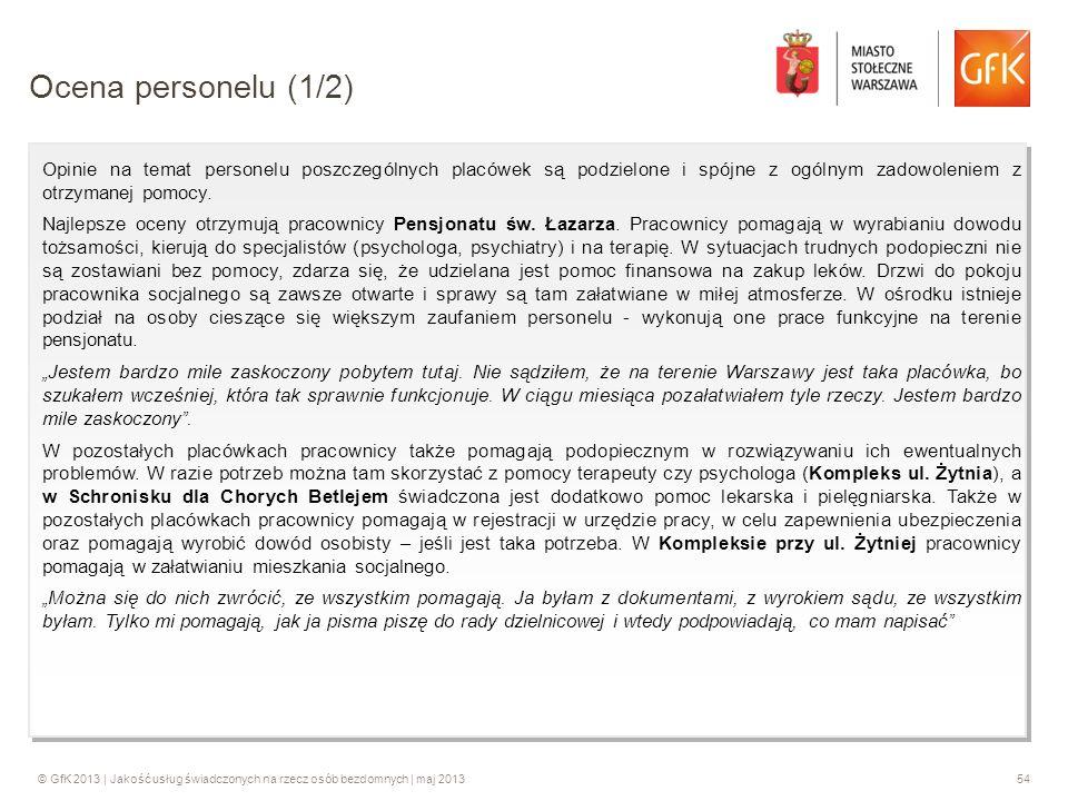 © GfK 2013 | Jakość usług świadczonych na rzecz osób bezdomnych | maj 201354 Opinie na temat personelu poszczególnych placówek są podzielone i spójne