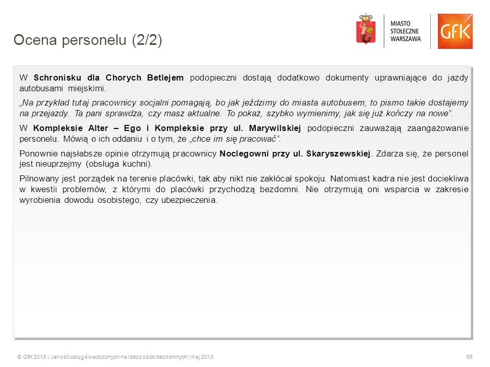 © GfK 2013 | Jakość usług świadczonych na rzecz osób bezdomnych | maj 201355 W Schronisku dla Chorych Betlejem podopieczni dostają dodatkowo dokumenty