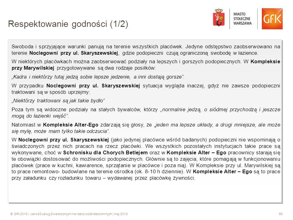 © GfK 2013 | Jakość usług świadczonych na rzecz osób bezdomnych | maj 201356 Swoboda i sprzyjające warunki panują na terenie wszystkich placówek. Jedy