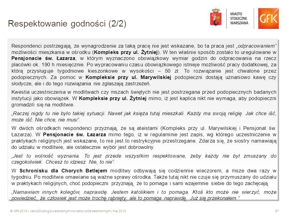 © GfK 2013 | Jakość usług świadczonych na rzecz osób bezdomnych | maj 201357 Respondenci postrzegają, że wynagrodzenie za taką pracę nie jest wskazane