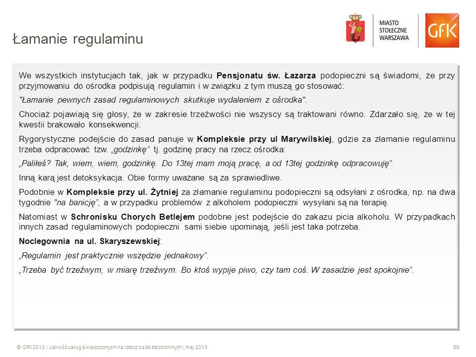 © GfK 2013 | Jakość usług świadczonych na rzecz osób bezdomnych | maj 201359 We wszystkich instytucjach tak, jak w przypadku Pensjonatu św. Łazarza po
