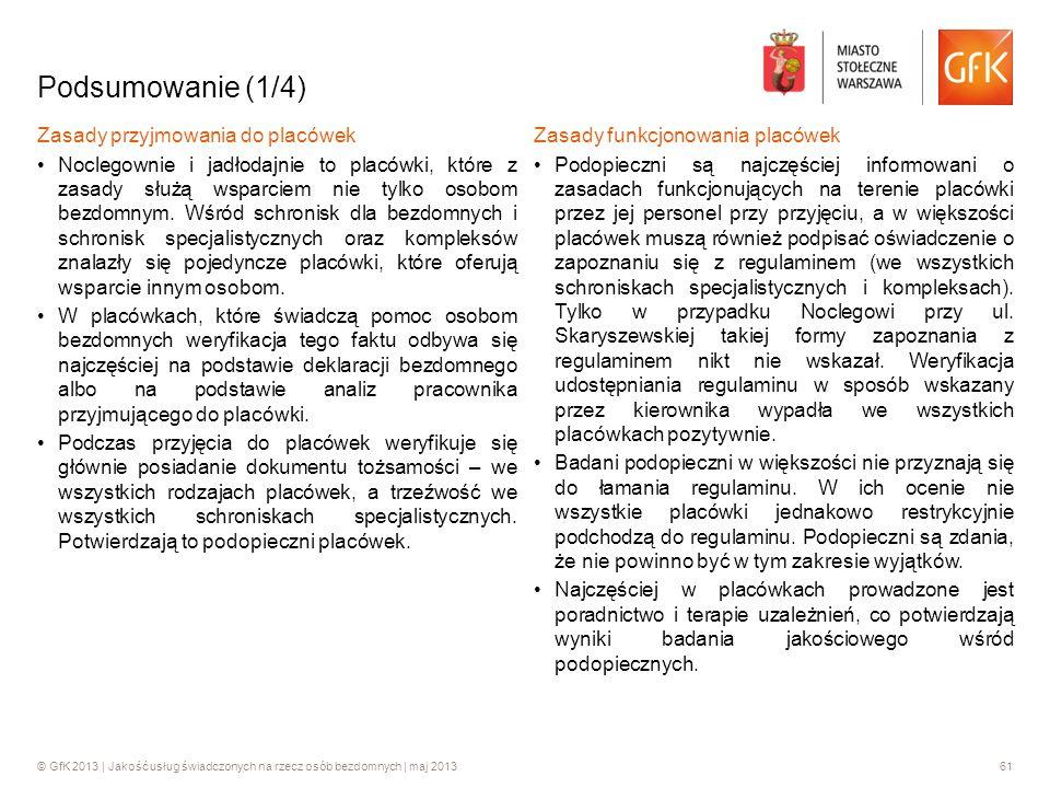© GfK 2013 | Jakość usług świadczonych na rzecz osób bezdomnych | maj 201361 Podsumowanie (1/4) Zasady przyjmowania do placówek Noclegownie i jadłodaj
