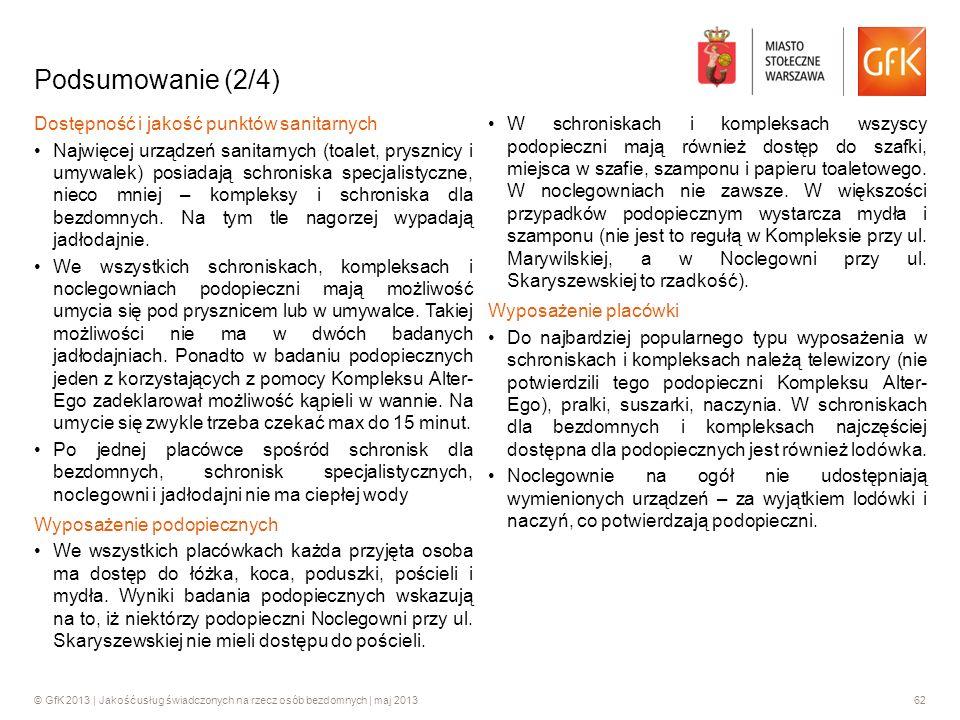 © GfK 2013 | Jakość usług świadczonych na rzecz osób bezdomnych | maj 201362 Podsumowanie (2/4) Dostępność i jakość punktów sanitarnych Najwięcej urzą