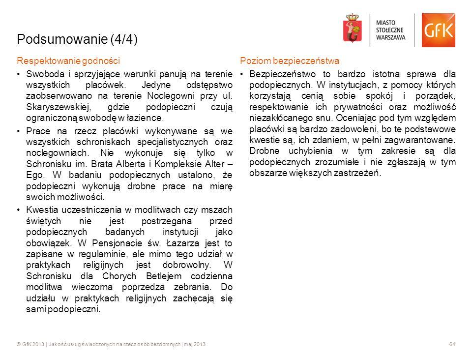 © GfK 2013 | Jakość usług świadczonych na rzecz osób bezdomnych | maj 201364 Podsumowanie (4/4) Respektowanie godności Swoboda i sprzyjające warunki p