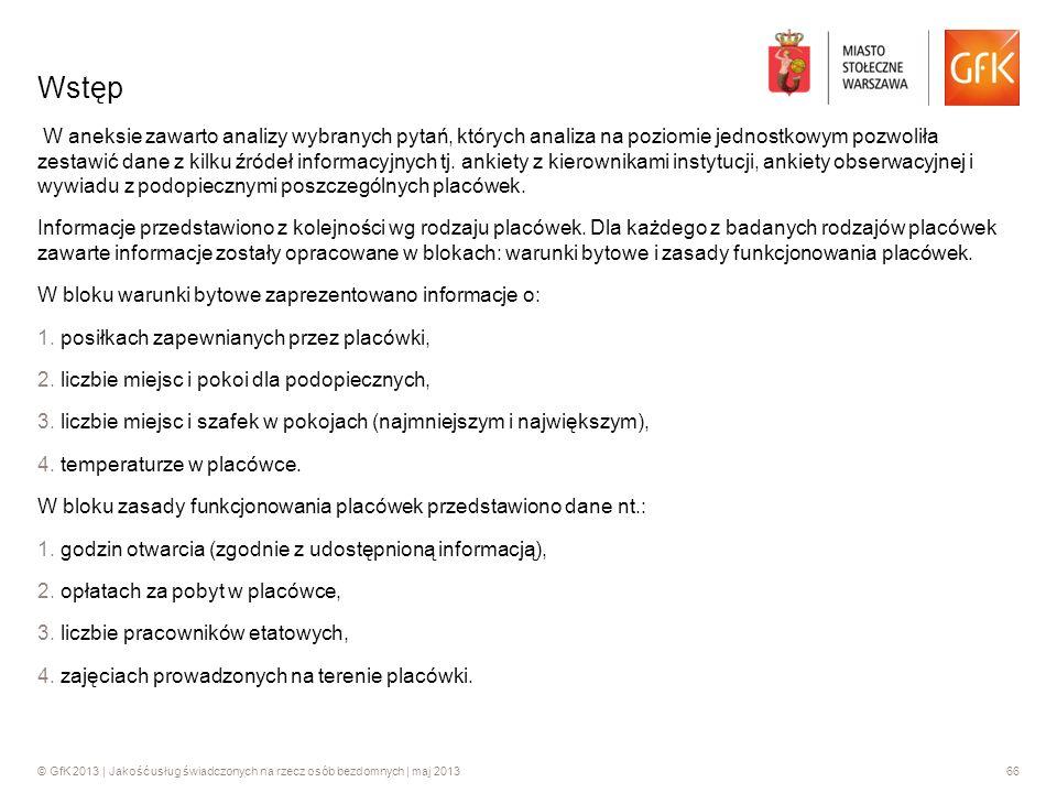 © GfK 2013 | Jakość usług świadczonych na rzecz osób bezdomnych | maj 201366 W aneksie zawarto analizy wybranych pytań, których analiza na poziomie je