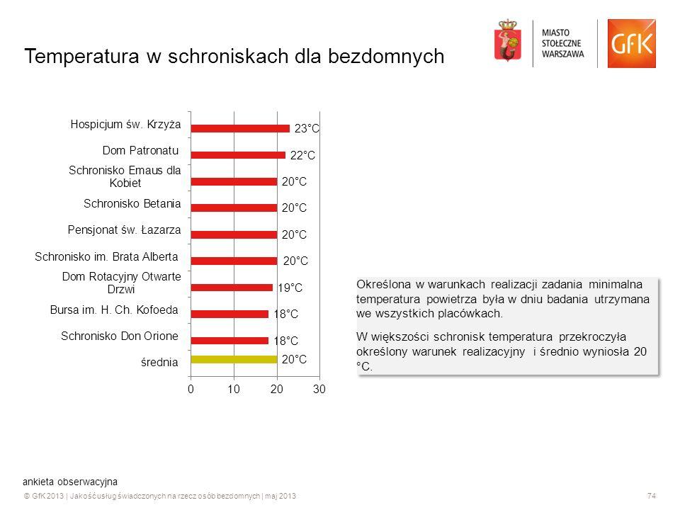 © GfK 2013 | Jakość usług świadczonych na rzecz osób bezdomnych | maj 201374 Temperatura w schroniskach dla bezdomnych Określona w warunkach realizacj