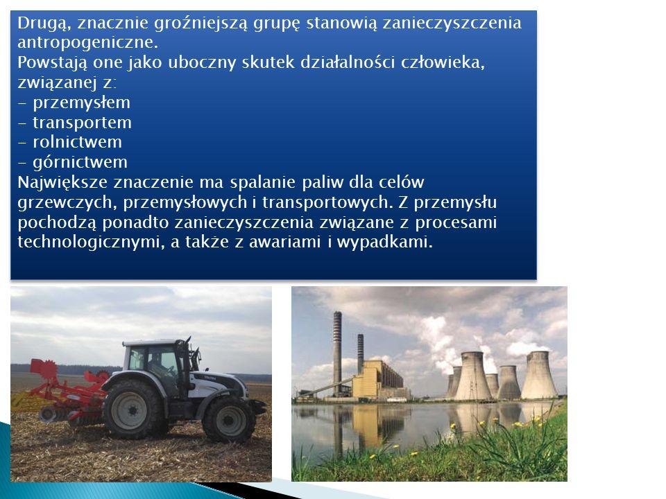 Podstawowymi składnikami zanieczyszczenia powietrza atmosferycznego, pochodzenia zarówno naturalnego, jak i antropogenicznego są pyły i gazy.