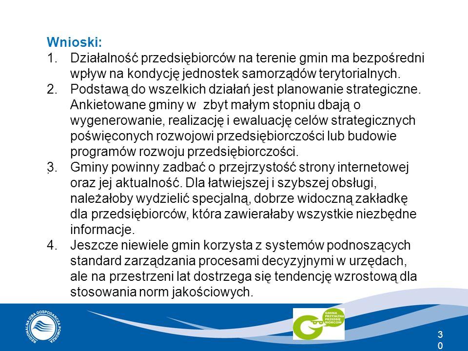 Wnioski: 1.Działalność przedsiębiorców na terenie gmin ma bezpośredni wpływ na kondycję jednostek samorządów terytorialnych. 2.Podstawą do wszelkich d