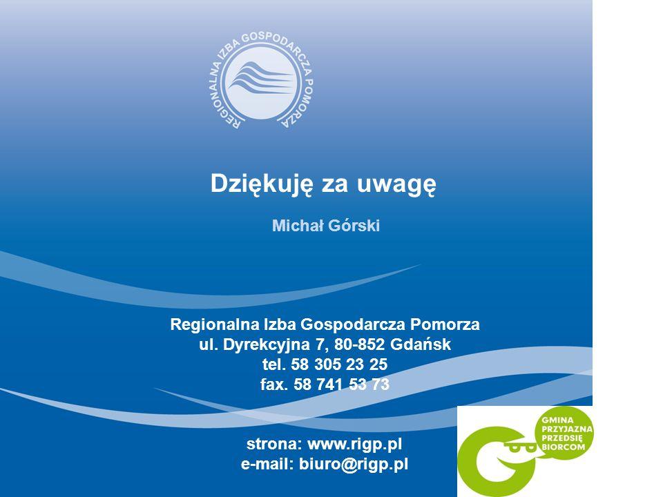 Dziękuję za uwagę Regionalna Izba Gospodarcza Pomorza ul. Dyrekcyjna 7, 80-852 Gdańsk tel. 58 305 23 25 fax. 58 741 53 73 strona: www.rigp.pl e-mail: