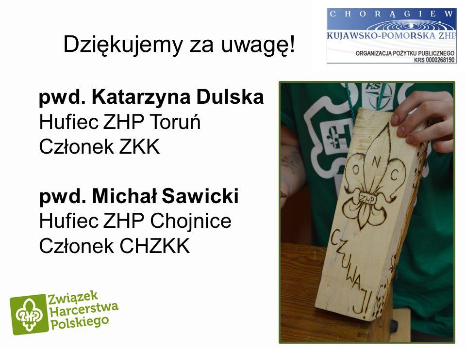 Dziękujemy za uwagę! pwd. Katarzyna Dulska Hufiec ZHP Toruń Członek ZKK pwd. Michał Sawicki Hufiec ZHP Chojnice Członek CHZKK