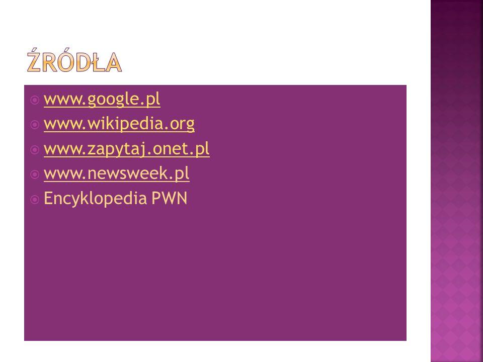 www.google.pl www.wikipedia.org www.zapytaj.onet.pl www.newsweek.pl Encyklopedia PWN
