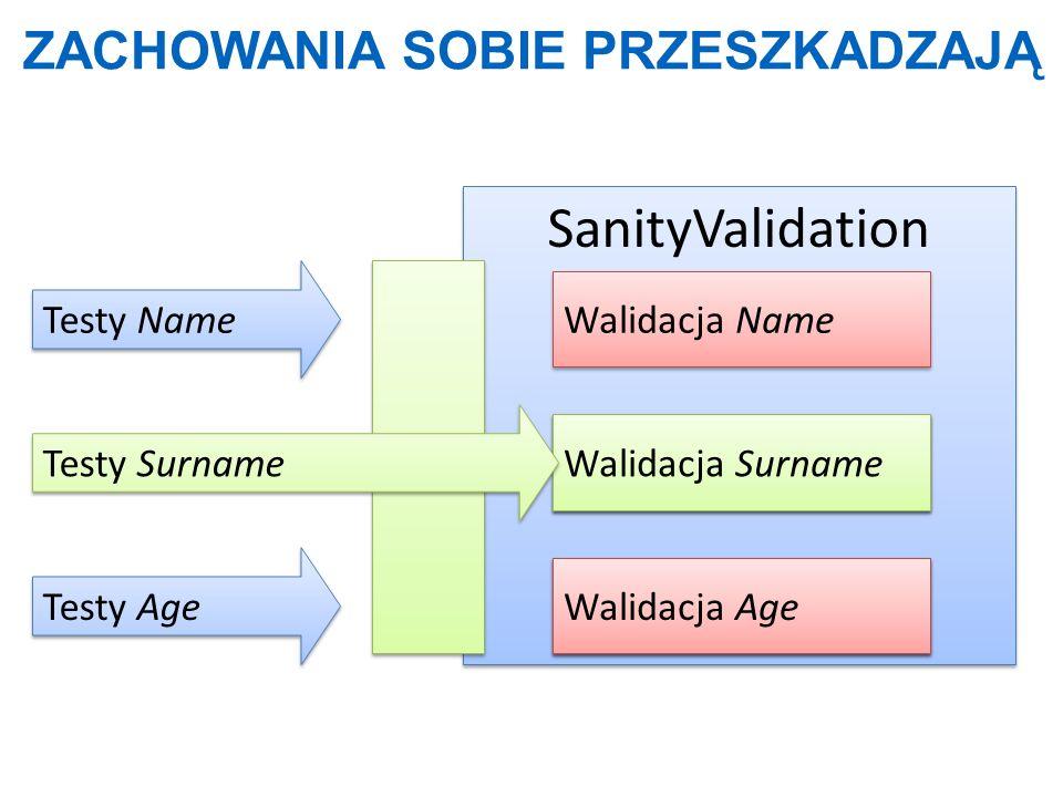 ZACHOWANIA SOBIE PRZESZKADZAJĄ SanityValidation Walidacja Surname Walidacja Age Testy Age Of() Testy Name Walidacja Name Walidacja Surname Walidacja A