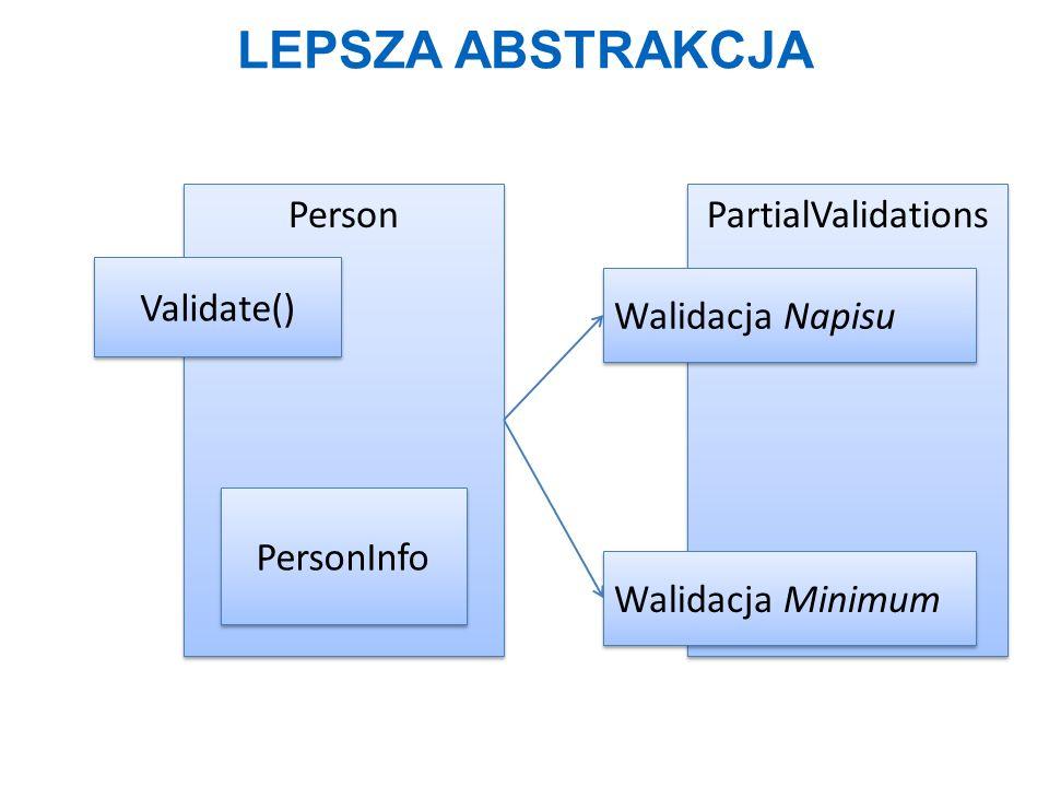 LEPSZA ABSTRAKCJA Person Validate() PartialValidations Walidacja Napisu Walidacja Minimum PersonInfo