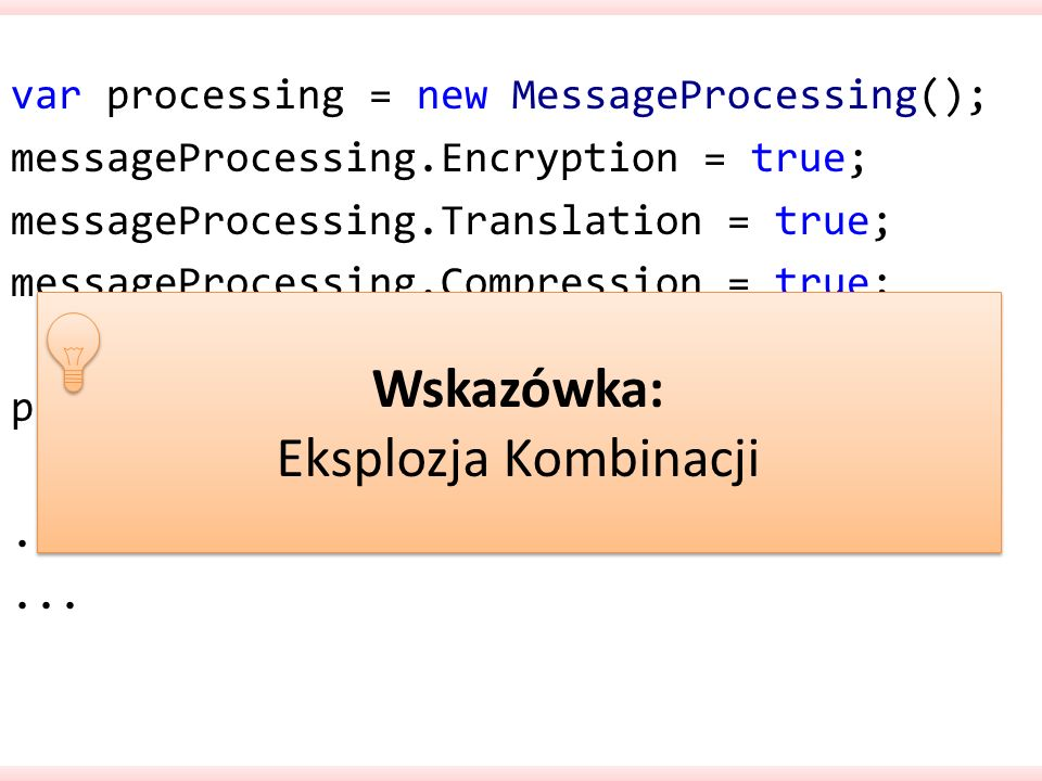 var processing = new MessageProcessing(); messageProcessing.Encryption = true; messageProcessing.Translation = true; messageProcessing.Compression = true; processing.For(message);...
